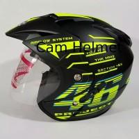 Helm motor SNI 2 kaca double visor KNC rossi 46 black doff yellow