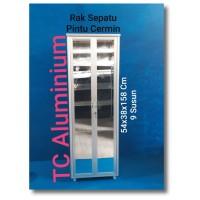 Rak Sepatu Aluminium 54x38x158 Cm PLT 9 Susun Pintu Cermin