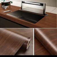 grosir murah wallpaper sticker dinding motip kayu coklat