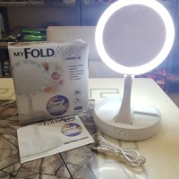 Cermin LED Foldable Kaca Rias Make Up Double Sided Mirror