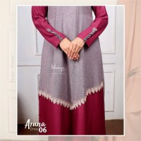 Aruna Dress 06 Grape Maroon by KHAIYA / Gamis saja/Gamis Two Tone