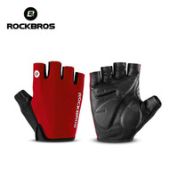 Sarung Tangan Sepeda RockBros Gloves Half Finger Gel Red Original