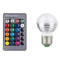Lampu Bohlam LED RGB 3W 16 Colors E27 with Remote Control