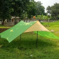 flysheet hijau tni 4 x 3mtr+ tiang+pasak+tali pancang