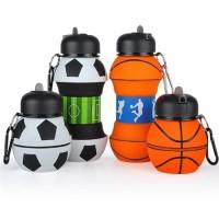Botol Minum Anak Lipat Silikon Sedotan|Tumbler Karakter Bola & Basket