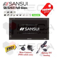 SANSUI SA-5202i FULL GLASS Head Unit Tape Double din Tv + cam