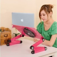 Meja Laptop table portable aluminium + cooler Fan - meja Lipat kerja -