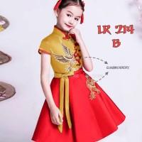 Dress Anak Perempuan Fashion Cheongsam Kerah Gold Kuning