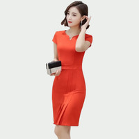 Midi Body fit Dress pesta Lengan pendek gaya korea - Jfashion Shoena
