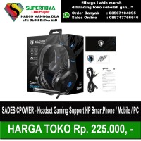 SADES CPOWER - Headset Gaming Support HP SmartPhone / Mobile / PC