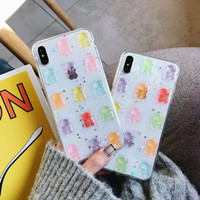 Casing iPhone Softcase Cute Gummy Bear 6 6s 7 8 Plus X Xs Max Xr