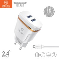 Adaptor charger ZAGBOX 2Usb + cable Fast Charge 2,4A SmartPower US-288 - List Silver