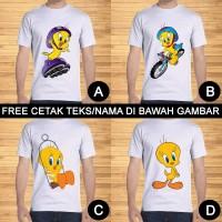 Kaos Dewasa Tweety Pria Wanita Kartun Karakter Custom Teks/Nama