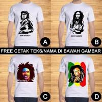 Kaos Dewasa Bob Marley Pria Wanita Custom Teks/Nama