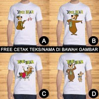 Kaos Dewasa Yogi Bear Pria Wanita Kartun Karakter Custom Teks/Nama