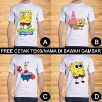 Kaos Dewasa Spongebob Patrick Squidward Pria Wanita Custom Teks/Nama