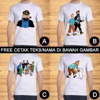 Kaos Dewasa Tintin Captain Haddock Pria Wanita Kartun Custom Teks/Nama