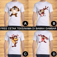 Kaos Dewasa Tasmanian Devil Pria Wanita Kartun Custom Teks/Nama