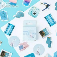 Sticker Deco Blue Life Aesthetic Scrapbook DIY Bujo Journal Planner