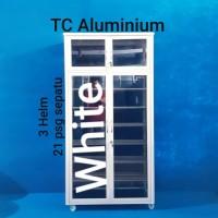 Lemari Sepatu- Helm 80x38x158 Cm (PLT)Aluminium Full Putih, Full Riben