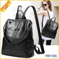 Tas Ransel Wanita Kulit PU Backpack cewek tas punggung Sekolah kuliah