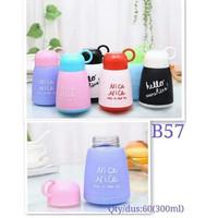 Botol Minum Kaca Unik Lucu Warna Warni Tutup Cup Nice 300 Ml - B57