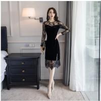 Plus Size Women Clothing Elegant Black Lace Velvet Hepburn Vintage