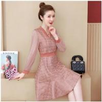 Plus Size Women Clothing Korean Midi Dresses Long Sleeve Slim Sparkly