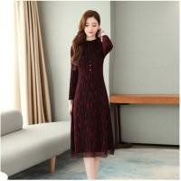 Autumn Women Clothing Plus Size Slim Long Sleeve High Waist Tunic Midi