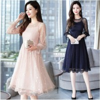 Lace Long Sleeve Midi Dress Knee Length Party Lady Dresses Elegant
