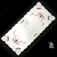 Table Runner Christmas White Gold / Taplak Meja Natal Bordir