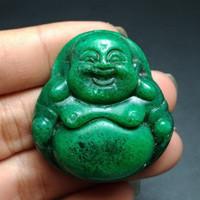 Batu Liontin Giok Hijau ukir Budha Asli