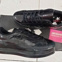 Sepatu Casual Converse Cons One Star Platform Patent Leather Black Ori