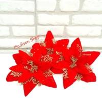 Bunga Ponsetia Gliter Isi 5 Hiasan Parcel Natal Murah Dekorasi Grosir