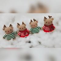 Boneka natal/christmas gift/Rusa/boneka couple 17cm