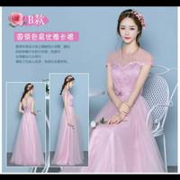 3. Gaun pesta panjang model lengan - pink