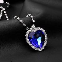 Samudra safir kristal biru kalung perhiasan liontin Kalung klavikula