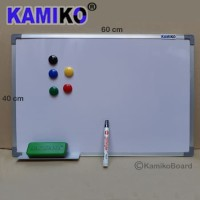 Whiteboard Kamiko 40 x 60 cm Gantung - Spidol Hitam - Magnet - Hapusan