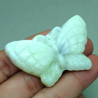 Liontin Batu Jade Giok type A bentuk kupu kupu Asli