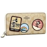 Coach Accordion Zip Wallet With Minnie Mouse Patches SALE ON