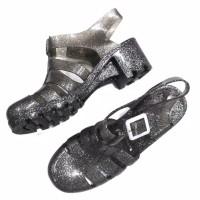 Sepatu Jelly Shoes Heels Glitter