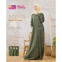 Baju Gamis Nibras Flower Series NFS 003 Salem/Merah Bata/Kubus/Hijau