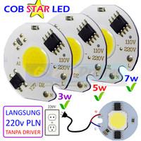 COB Star 220v 3w 5w 7w LED Putih White Lampu PLN AC Super Terang 25mm