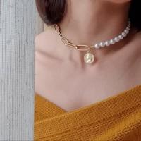 Kalung Mutiara choker warna emas / Anna necklace