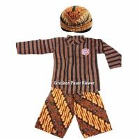 SETELAN BAJU Surjan Lurik Anak Celana Batik + Blangkon Size L, XL, L3