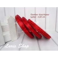 Pita satin 1/4 inch (0,65 cm) Lis / List Emas Undangan Hang tag Merah