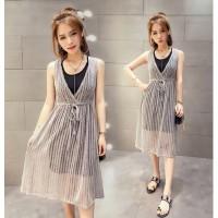 Set 2Pcs Dress Midi Tanpa Lengan Model Lace Up Warna Hitam untuk Wanit