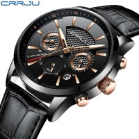Jam Tangan Pria CRRJU 2212 Leather Sport Militer Army Quartz Analog