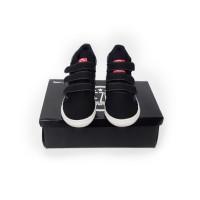 Sepatu Rekat Kets Sekolah Anak Laki Perempuan/ Hitam Polos/ Murah Lucu