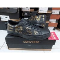 Sepatu Casual Converse Cons One Star Vintage Wordmark Black Original